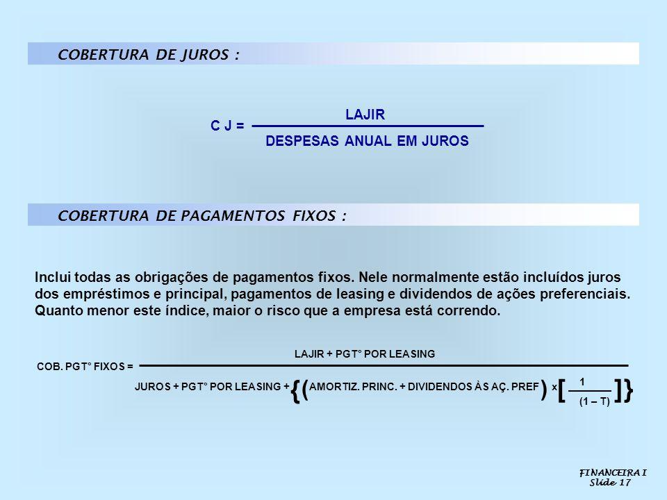{ [ ] } ( ) COBERTURA DE JUROS : COBERTURA DE PAGAMENTOS FIXOS : LAJIR